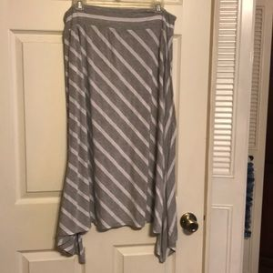 Grey and white striped asymmetrical skirt